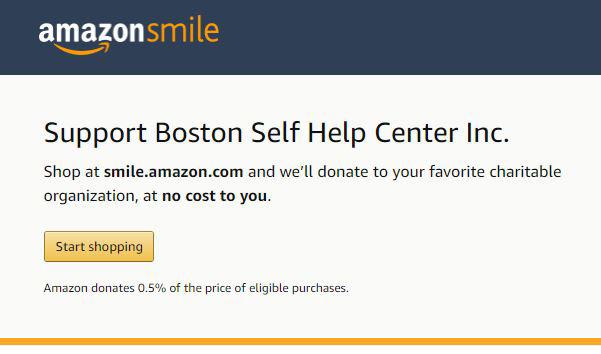 Use Amazon Smile to donate (free!) to Boston Self Help Center